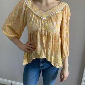 Spring Long Sleeve Yellow Blouse Size S